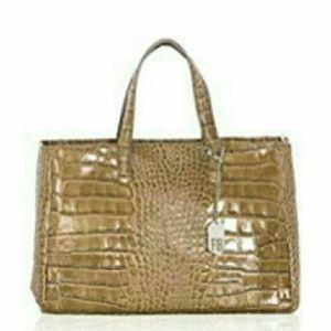 Handbags - NWT FEDERICA BASSI Croc-Embossed Leather Handbag